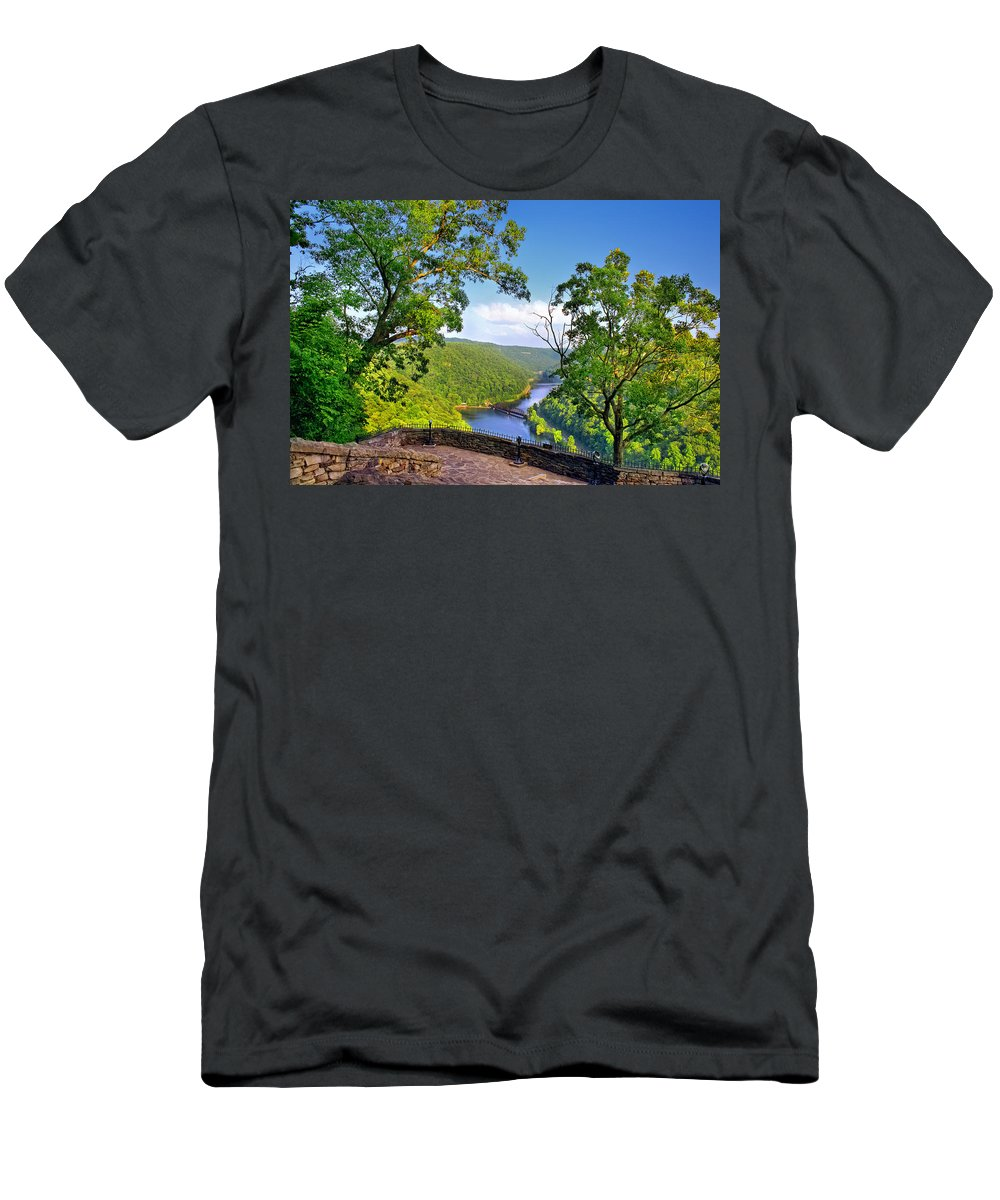 Hawks Nest State Park Men's T-Shirt (Athletic Fit) featuring the photograph Hawks Nest In Summer by Mary Almond