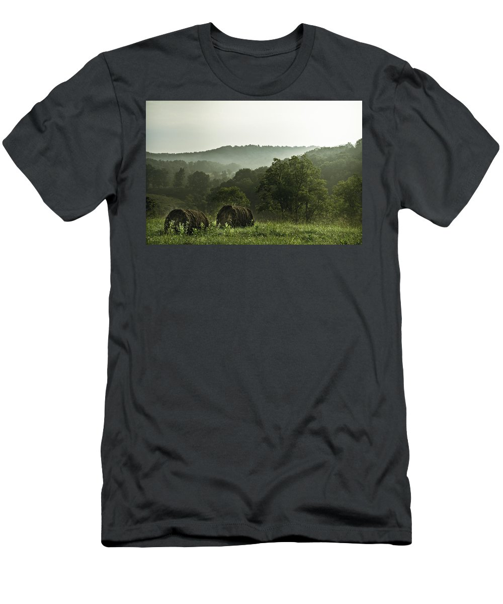 Hay Men's T-Shirt (Athletic Fit) featuring the photograph Hay Bales by Shane Holsclaw