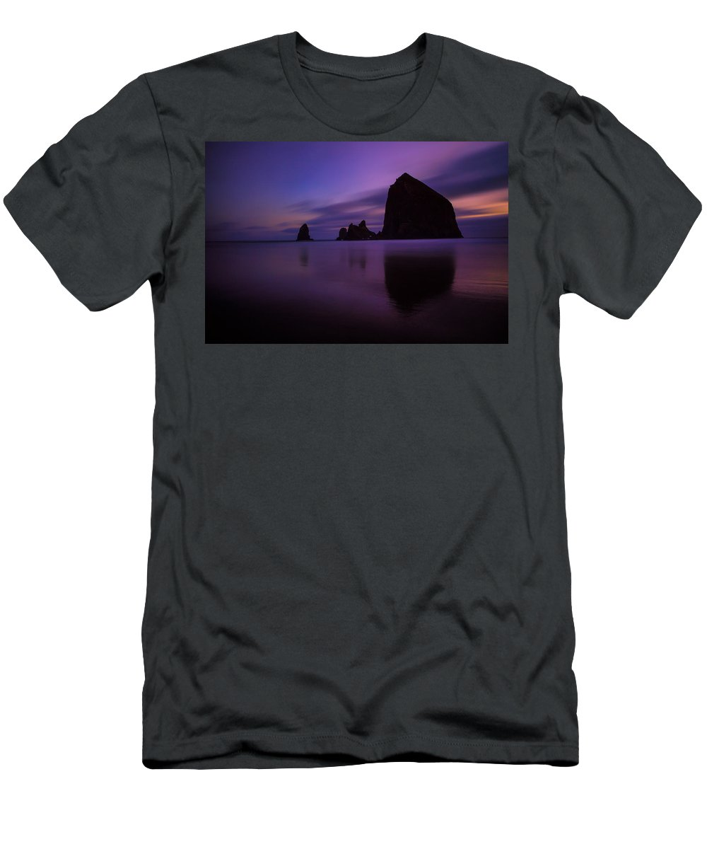 Oregon Men's T-Shirt (Athletic Fit) featuring the photograph Haystack At Dusk by Rick Berk