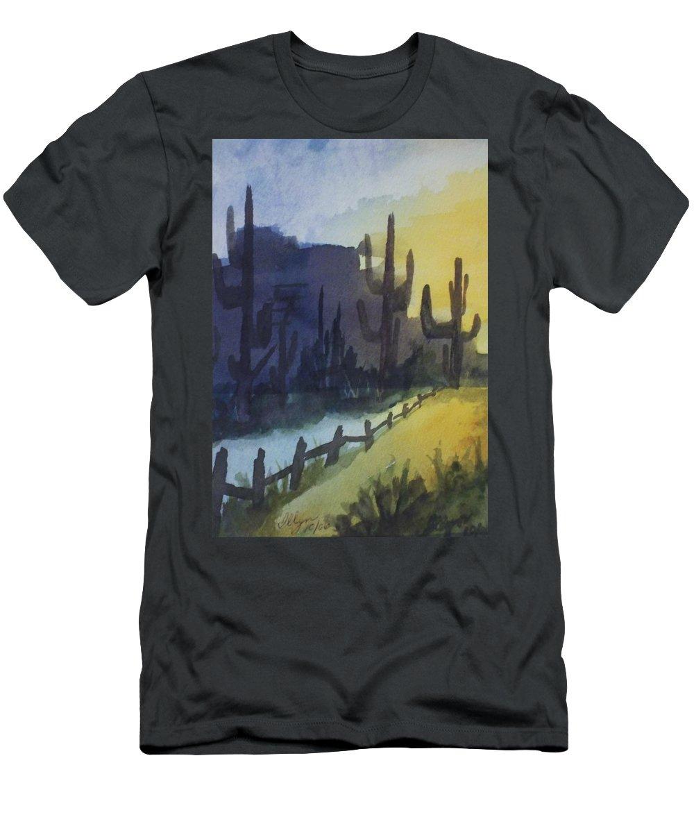 Cactus Men's T-Shirt (Athletic Fit) featuring the painting Hazy Mesas by Ellen Levinson