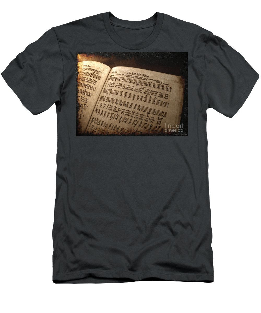 Still Life Men's T-Shirt (Athletic Fit) featuring the photograph He Set Me Free - Hymnal Song by Debbie Portwood