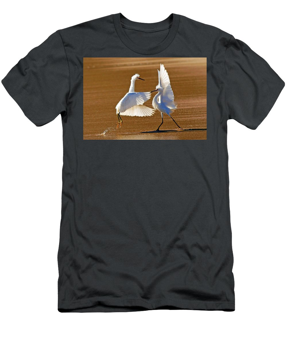 Egret Men's T-Shirt (Athletic Fit) featuring the photograph He Swept Me Off My Feet by Davids Digits