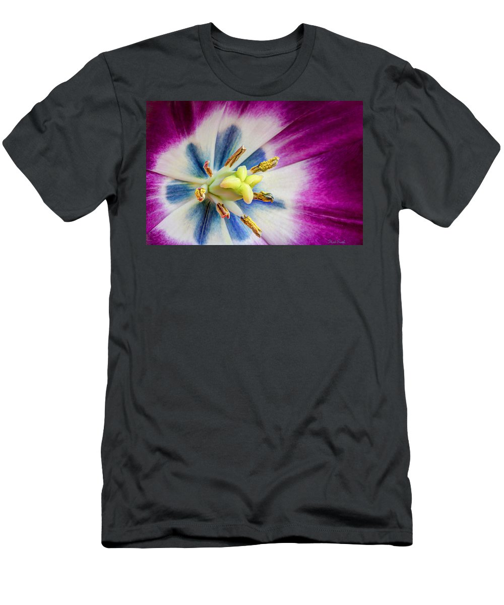 Purple Men's T-Shirt (Athletic Fit) featuring the photograph Heart Of A Tulip by Heidi Smith