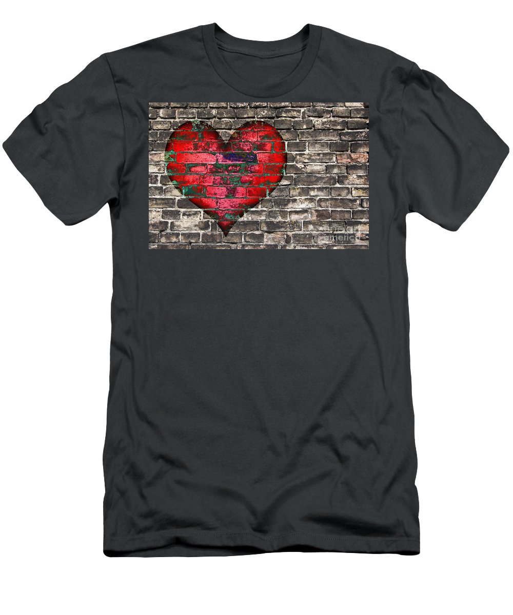 Heart Men's T-Shirt (Athletic Fit) featuring the digital art Heart On The Old Wall by Michal Boubin