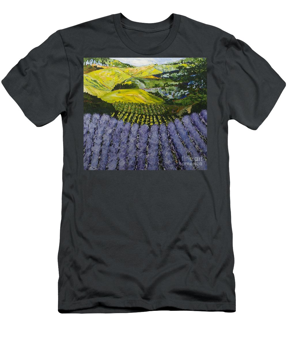 Landscape Men's T-Shirt (Athletic Fit) featuring the painting Heavenly Valley by Allan P Friedlander