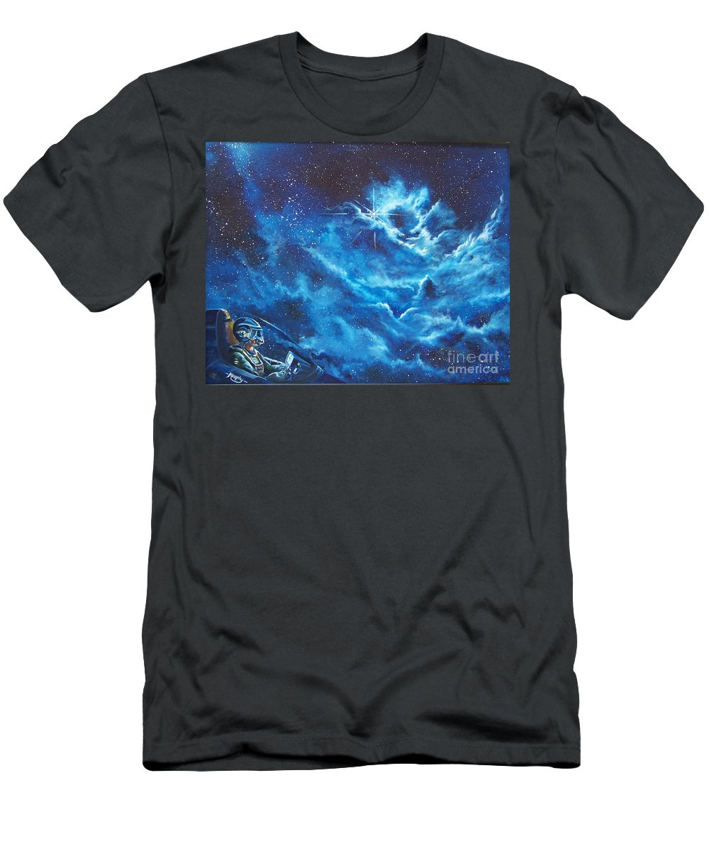 Astro Men's T-Shirt (Athletic Fit) featuring the painting Heavens Gate by Murphy Elliott