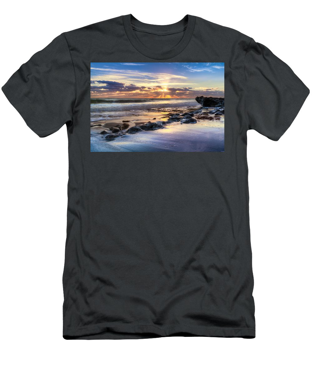 Clouds Men's T-Shirt (Athletic Fit) featuring the photograph Heaven's Lights by Debra and Dave Vanderlaan