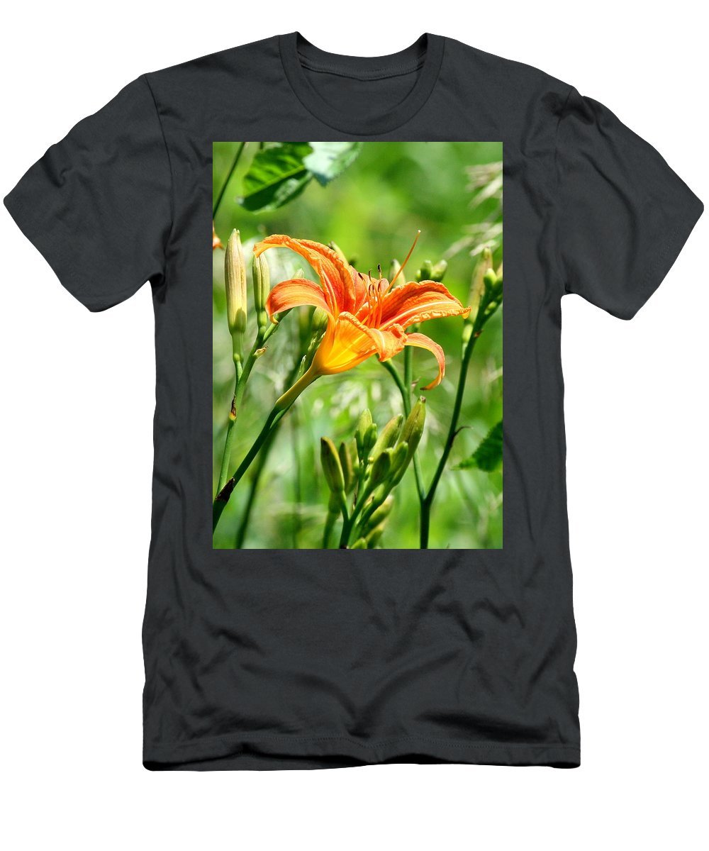 Orange. Orange Flowers Men's T-Shirt (Athletic Fit) featuring the photograph Heightened Awareness by Neal Eslinger