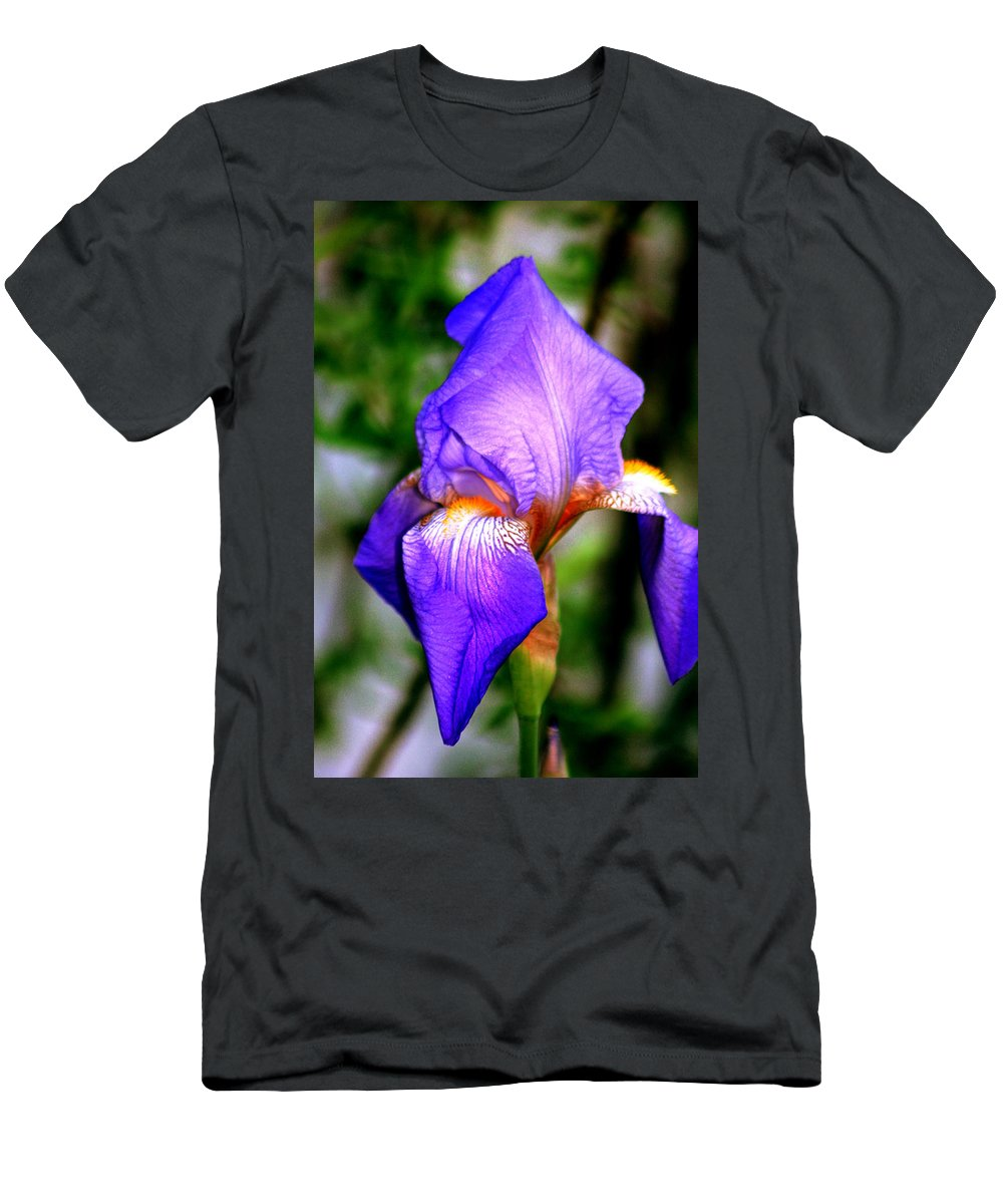 Flower Men's T-Shirt (Athletic Fit) featuring the photograph Heirloom Iris Purple by Lesa Fine