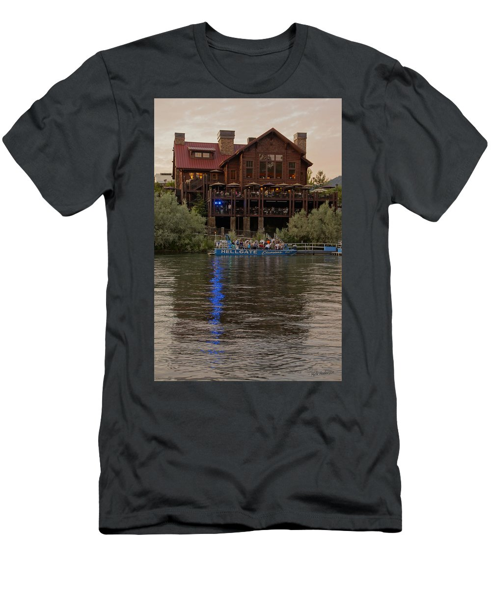 Hellgate Men's T-Shirt (Athletic Fit) featuring the photograph Hellgate Excursions At Taprock 2 by Mick Anderson