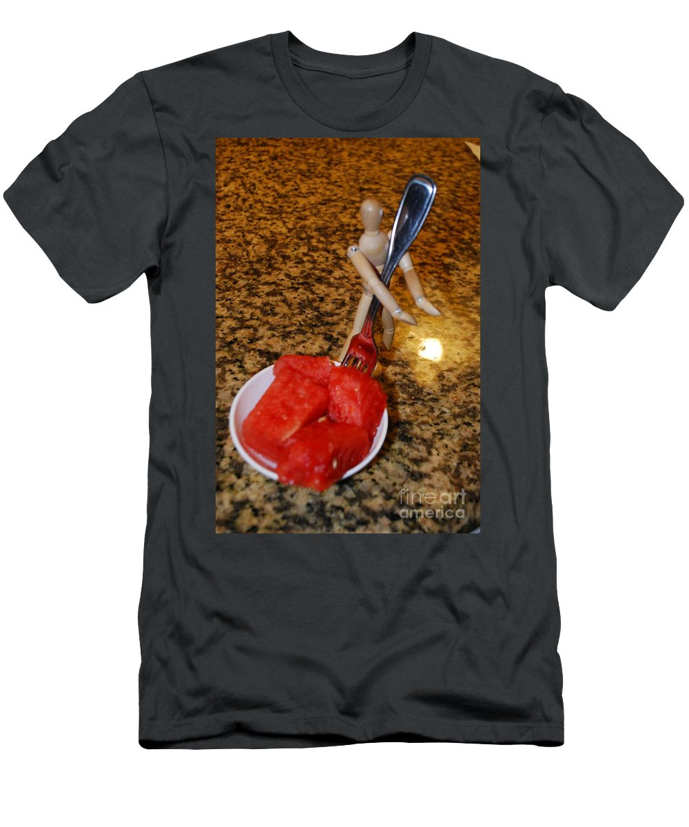 Photo Assistant Men's T-Shirt (Athletic Fit) featuring the photograph Helping With The Watermelon Number 1 by Heather Kirk