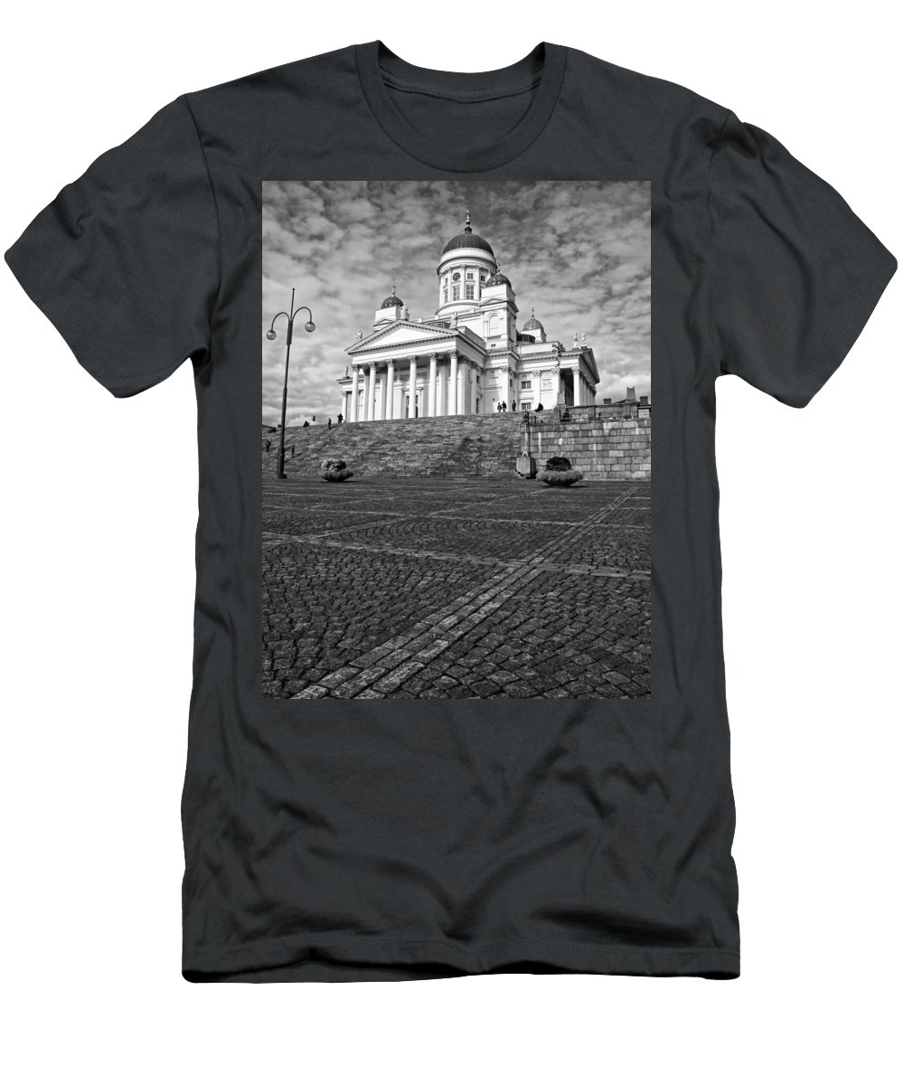 Architecture Men's T-Shirt (Athletic Fit) featuring the photograph Helsinki Cathedral by Claudio Bacinello