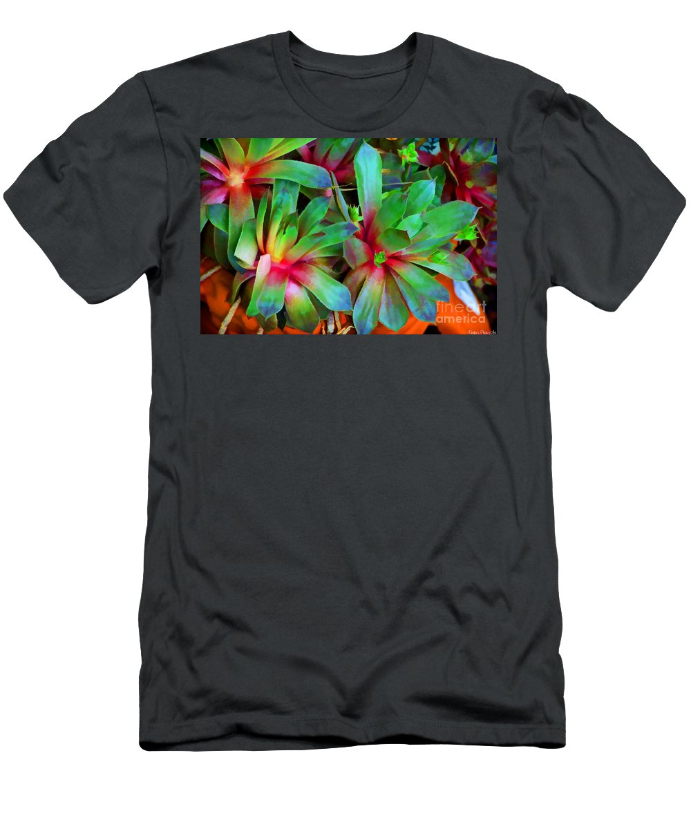 Nature Men's T-Shirt (Athletic Fit) featuring the photograph Hen And Chicks Digital Paint by Debbie Portwood