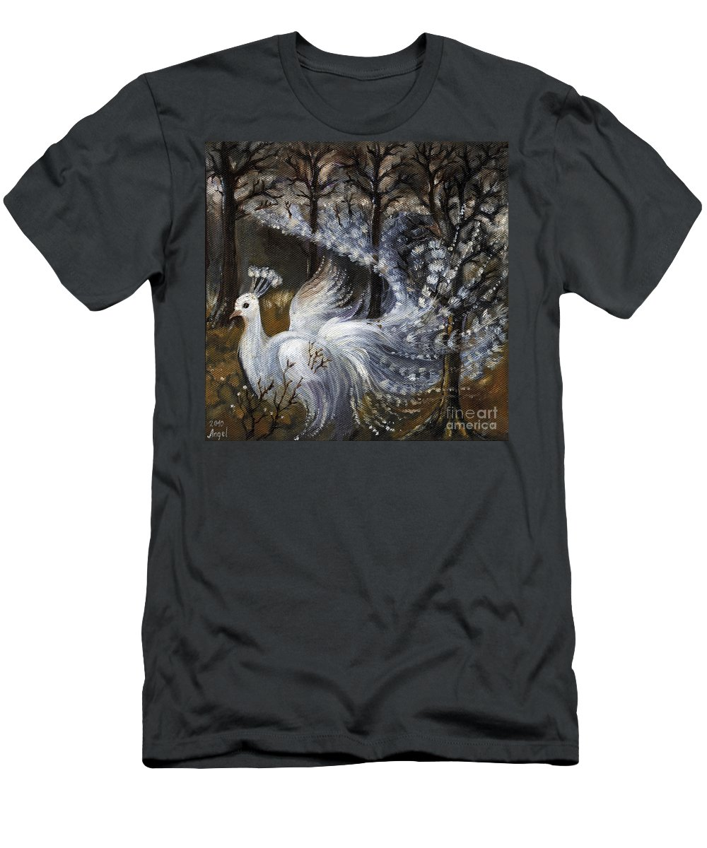 Peacock Men's T-Shirt (Athletic Fit) featuring the painting Here Comes The Mist by Angel Ciesniarska