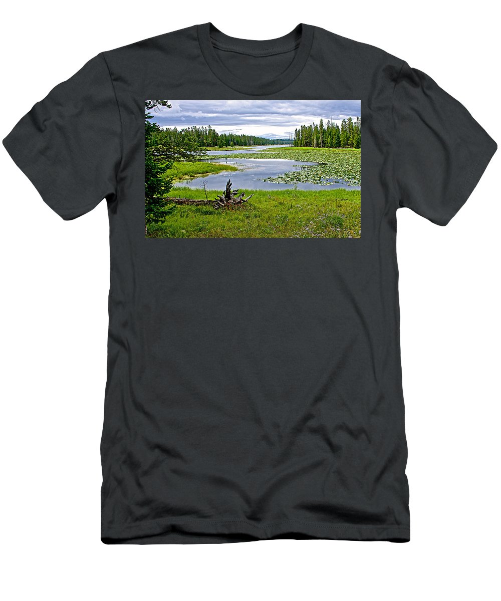Heron Pondl In Grand Teton National Park Men's T-Shirt (Athletic Fit) featuring the photograph Heron Pond In Grand Teton National Park-wyoming  by Ruth Hager