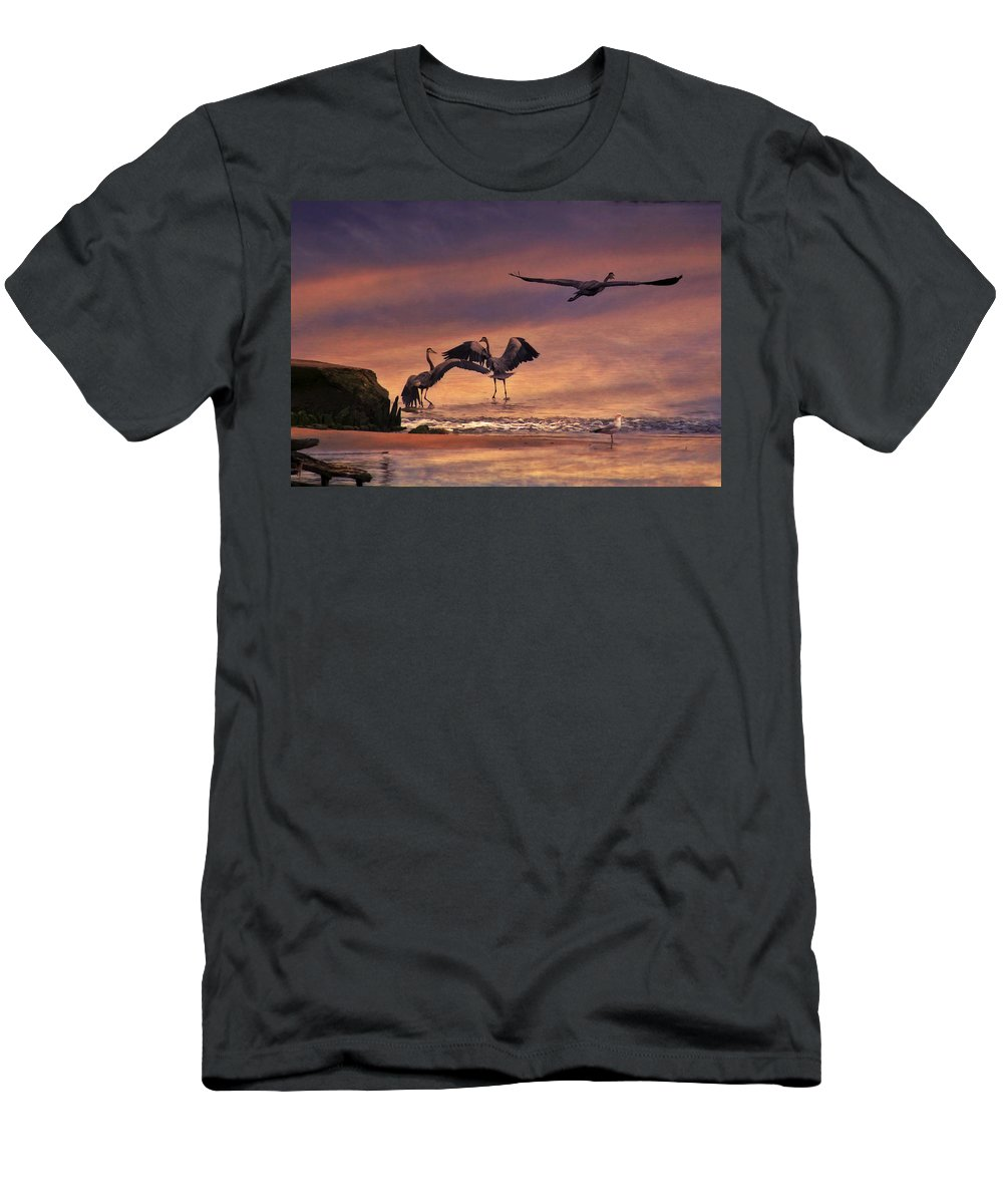 Bird Men's T-Shirt (Athletic Fit) featuring the photograph Herons At Sunset by Amy Jackson