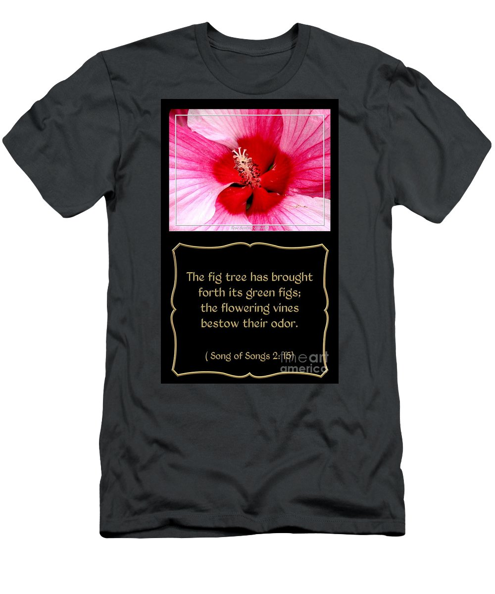 Hibiscus Men's T-Shirt (Athletic Fit) featuring the photograph Hibiscus Closeup With Bible Quote From Song Of Songs by Rose Santuci-Sofranko
