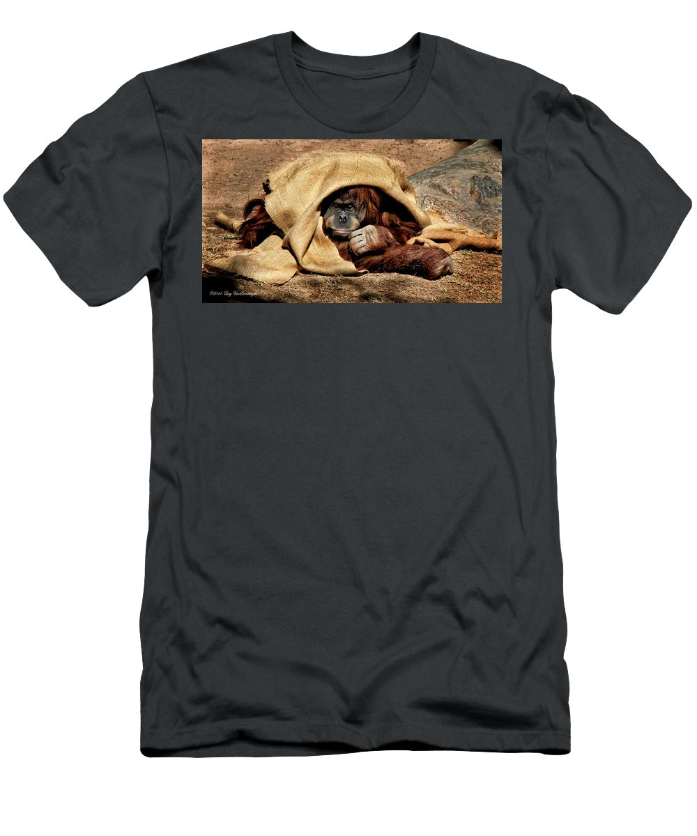 Orangutan Men's T-Shirt (Athletic Fit) featuring the photograph Hiding In Plain Sight by Lucy VanSwearingen