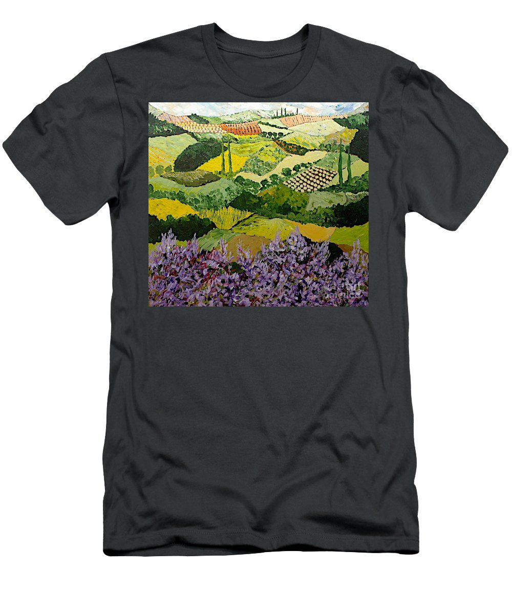 Landscape Men's T-Shirt (Athletic Fit) featuring the painting High Ridge by Allan P Friedlander