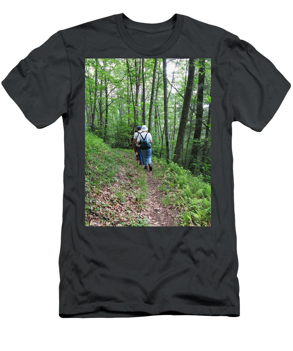 Group Of People Men's T-Shirt (Athletic Fit) featuring the photograph Hiking Group by Melinda Fawver