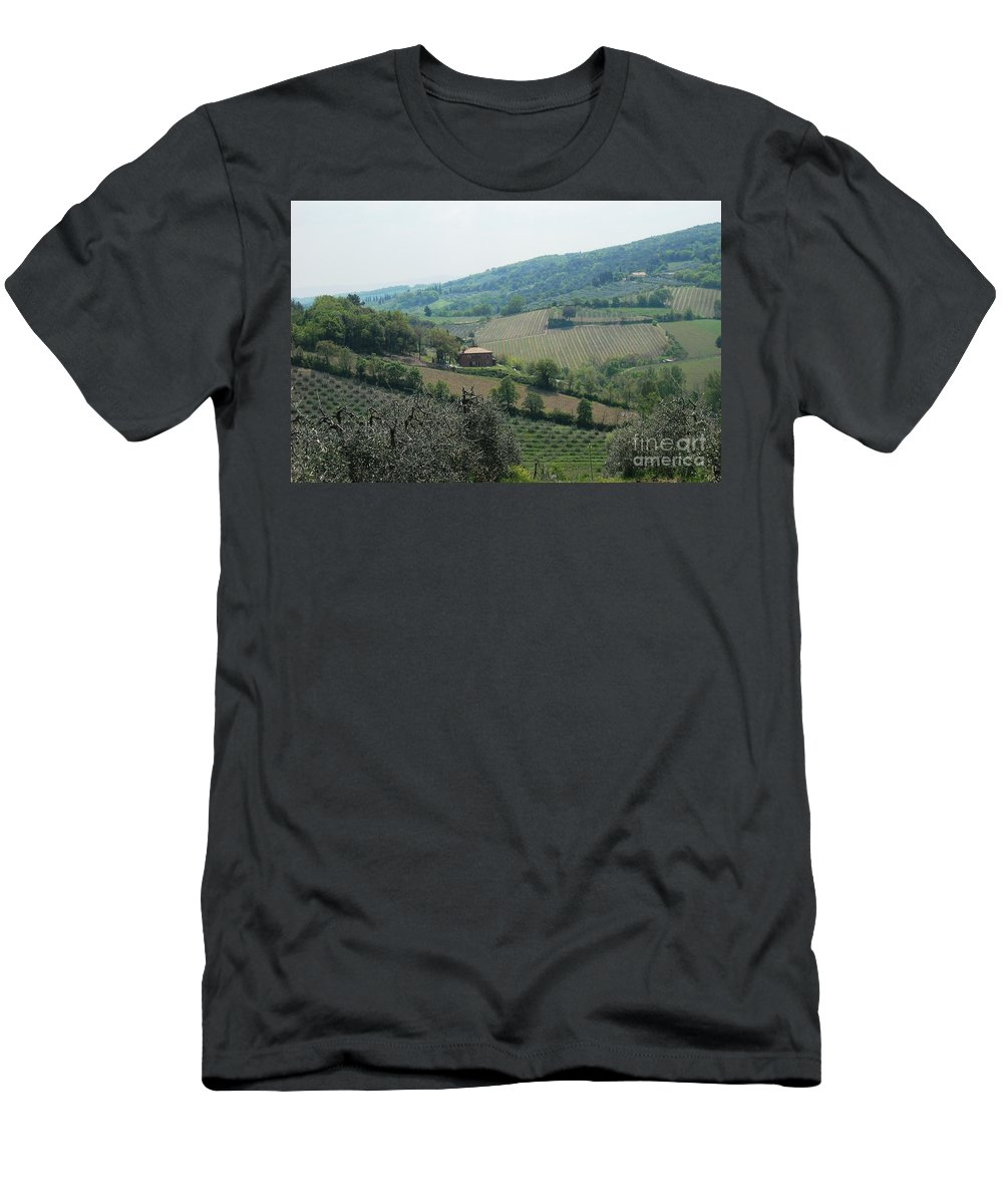 Tuscany Men's T-Shirt (Athletic Fit) featuring the photograph Hills Of Tuscany by Lisa Kilby