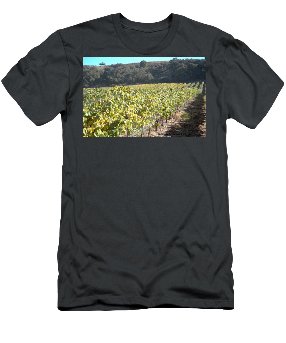 Barbara Snyder Men's T-Shirt (Athletic Fit) featuring the digital art Hillside Vineyard by Barbara Snyder