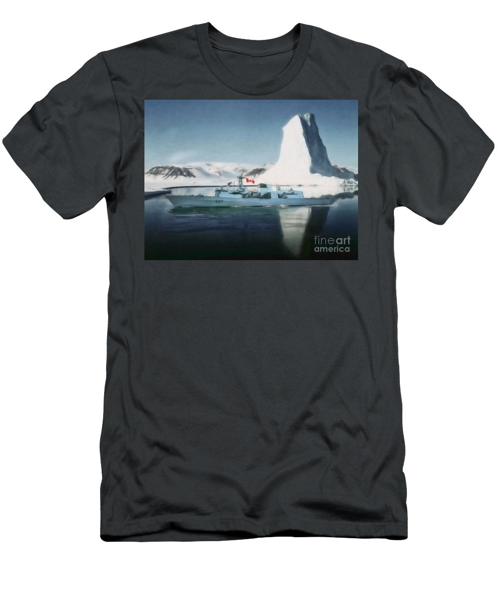 Veterans Men's T-Shirt (Athletic Fit) featuring the digital art Hmcs Fredericton V2 By Shawna Mac by Shawna Mac