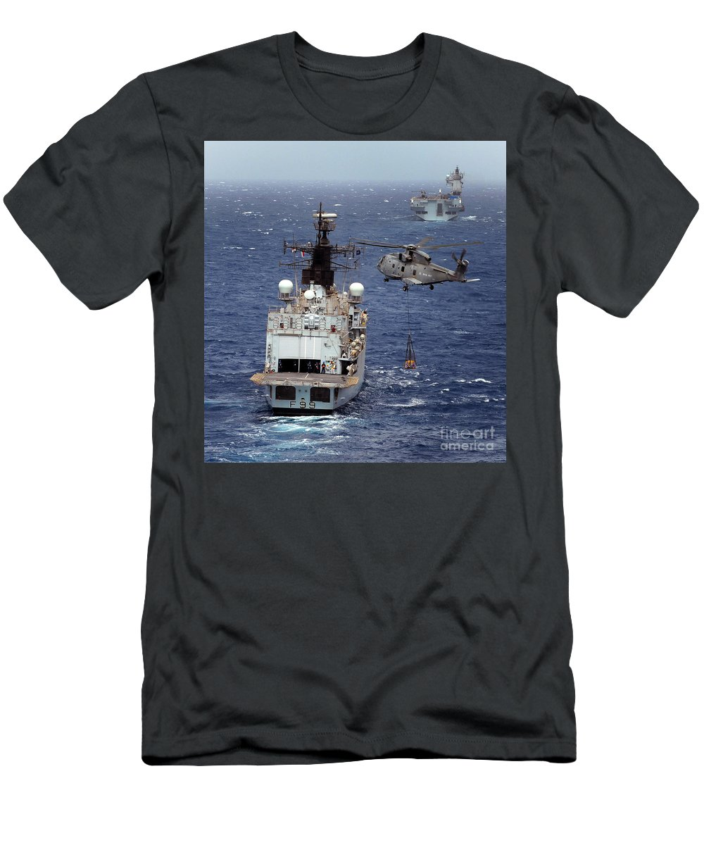 Hm Mk1 Men's T-Shirt (Athletic Fit) featuring the photograph Hms Cornwall Is Pictured Receiving Stores By Merlin Helicopter by Paul Fearn