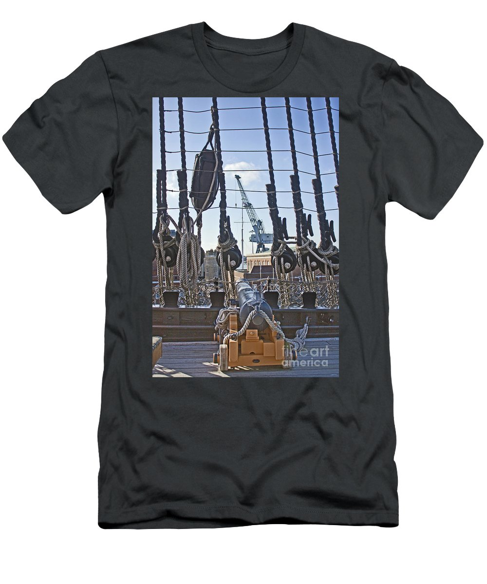 Portsmouth Men's T-Shirt (Athletic Fit) featuring the photograph Hms Victory Cannon by Terri Waters