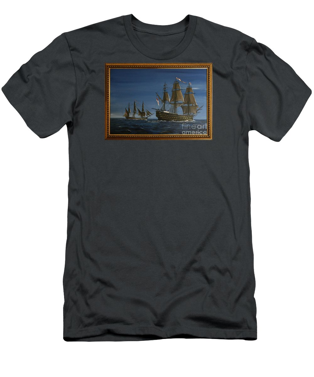 Battle Of Trafalgar Men's T-Shirt (Athletic Fit) featuring the painting Hms Victory Dawn by Richard John Holden RA