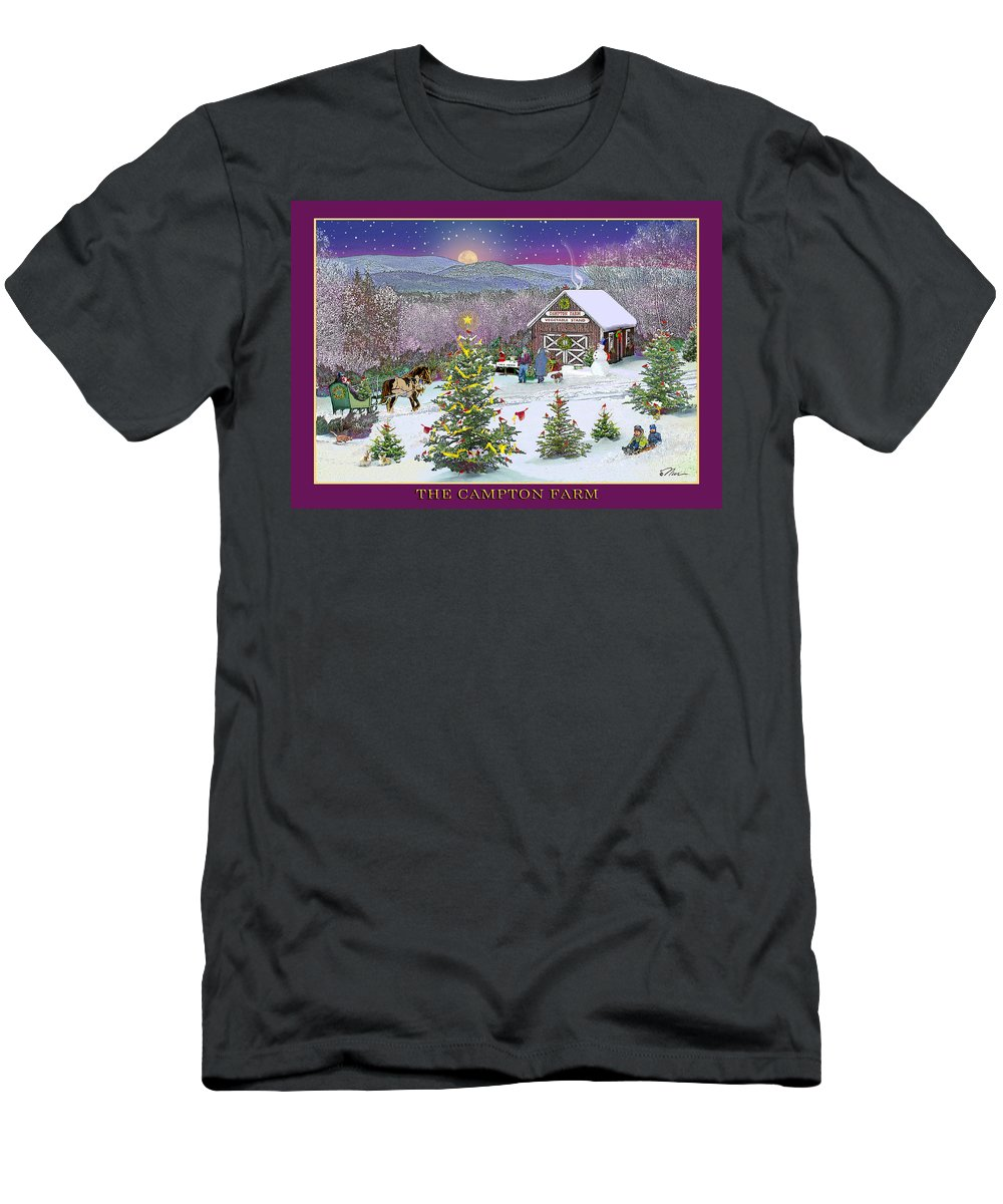 Winter Men's T-Shirt (Athletic Fit) featuring the digital art Holiday At Campton Farm New Hampshire by Nancy Griswold