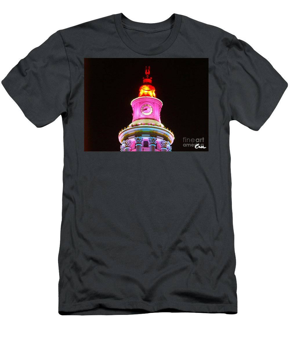 Holiday Lights 2012 Denver City And County Building Men's T-Shirt (Athletic Fit) featuring the photograph Holiday Lights 2012 Denver City And County Building F4 by Feile Case