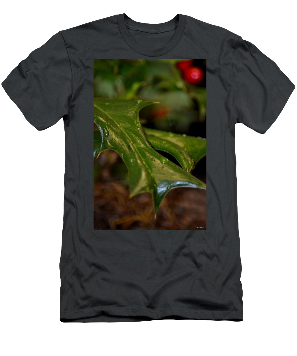 Holly Leaf Abstract Men's T-Shirt (Athletic Fit) featuring the photograph Holly Leaf Abstract by Maria Urso
