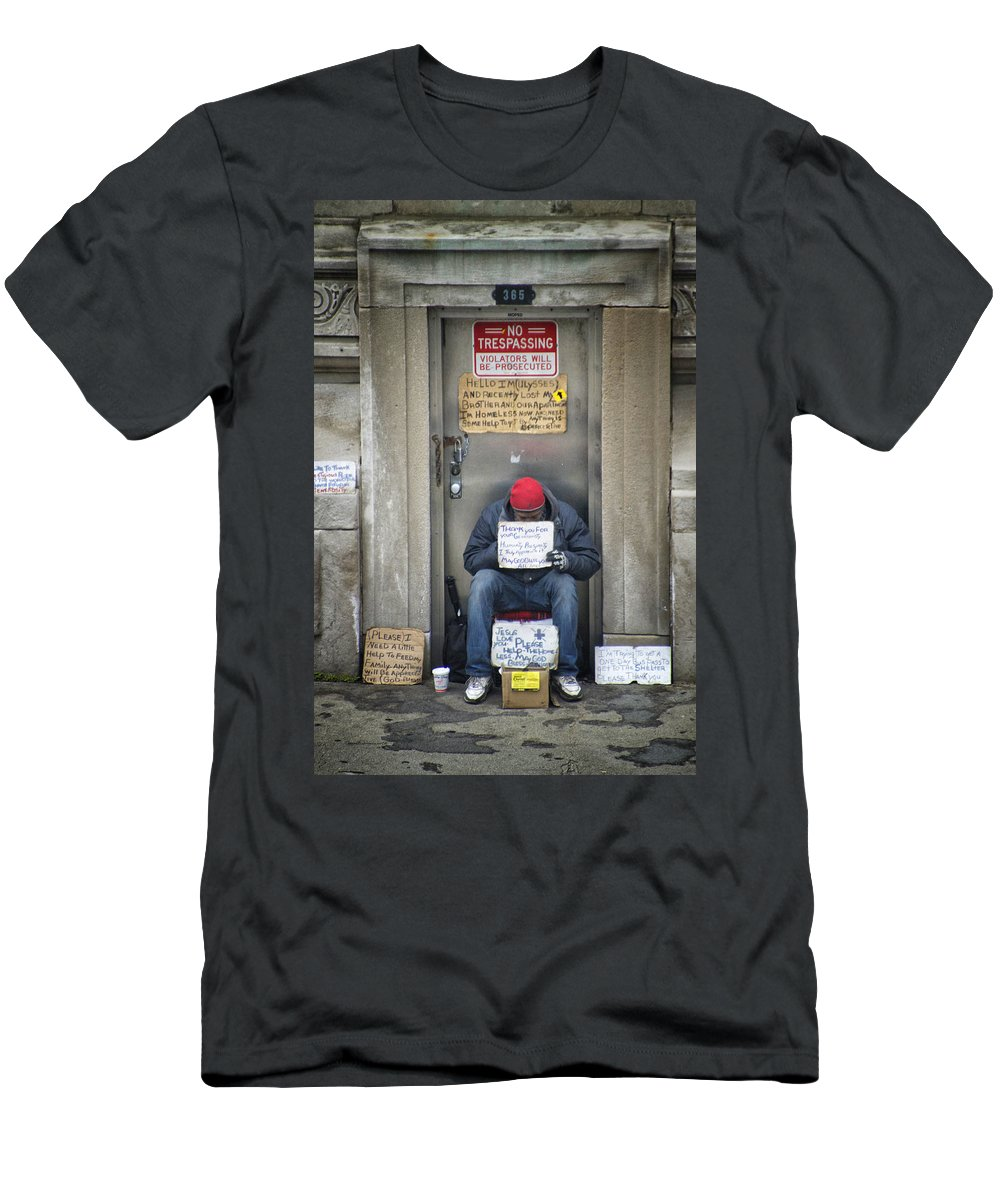 Abandoned Men's T-Shirt (Athletic Fit) featuring the photograph Homeless In The Usa by Thomas Woolworth