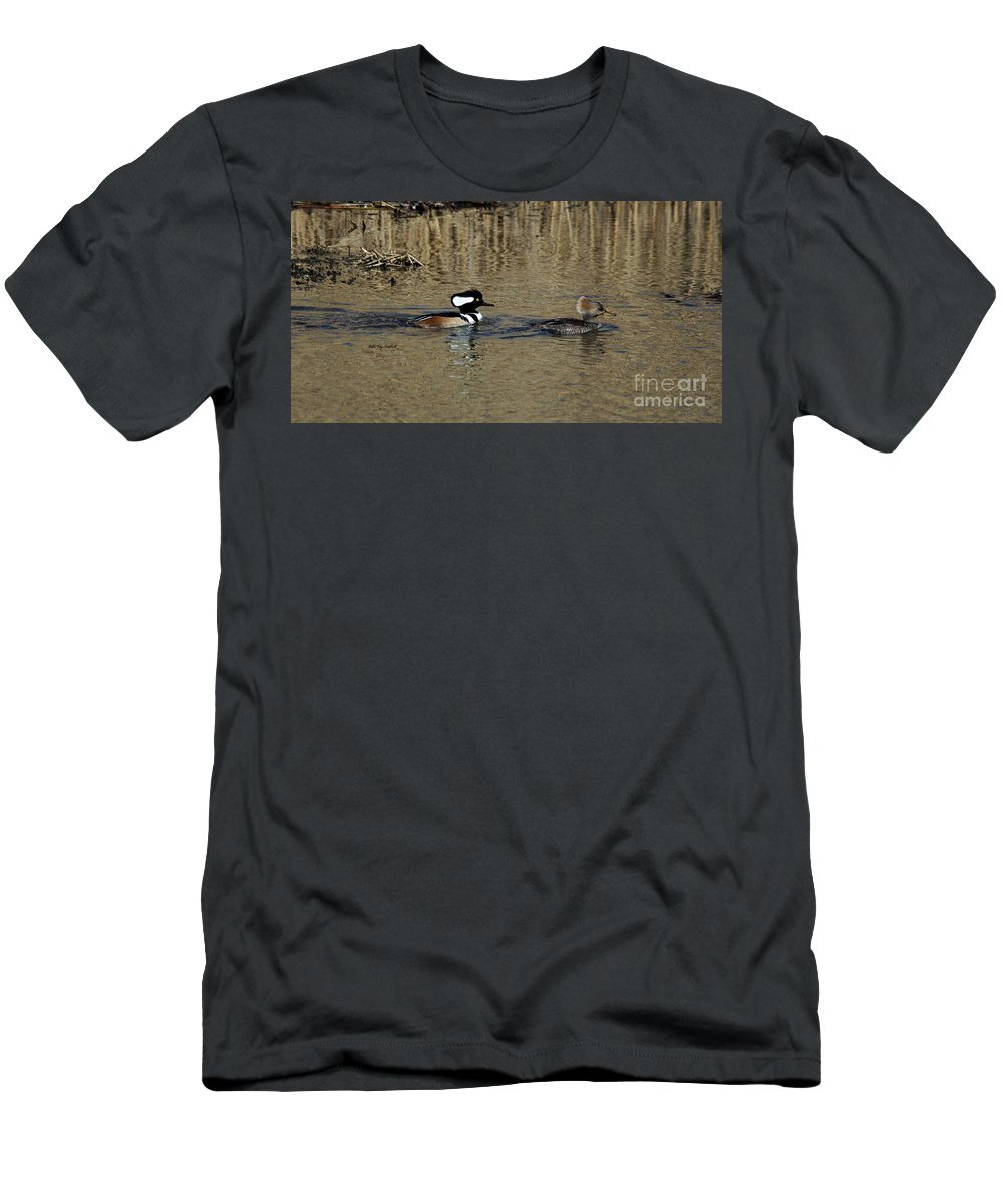 Hooded Merganser Men's T-Shirt (Athletic Fit) featuring the photograph Hooded Merganser Couple by Patti Smith