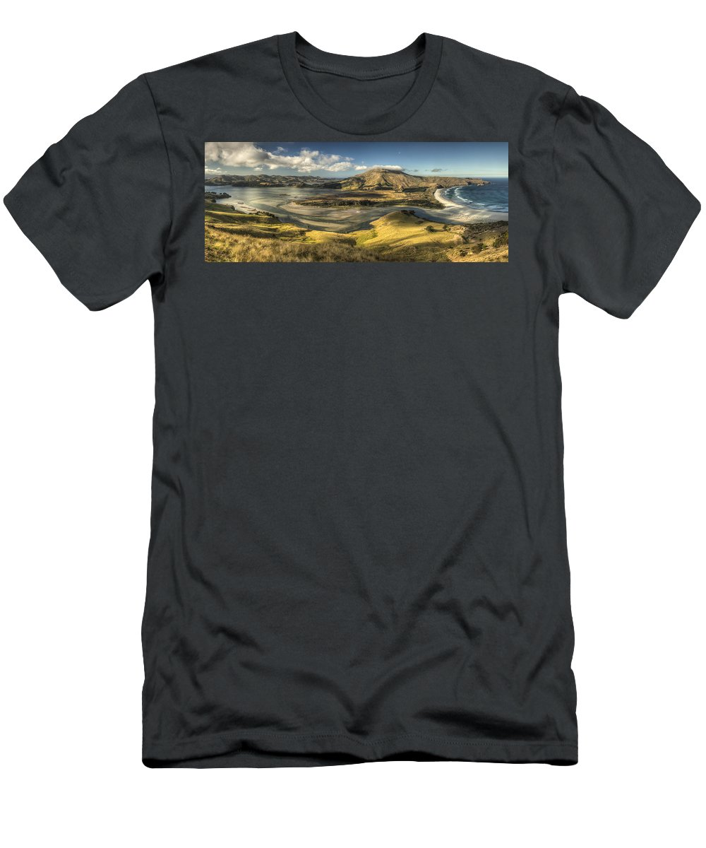 Feb0514 Men's T-Shirt (Athletic Fit) featuring the photograph Hoopers Inlet And Cape Saunders New by Colin Monteath