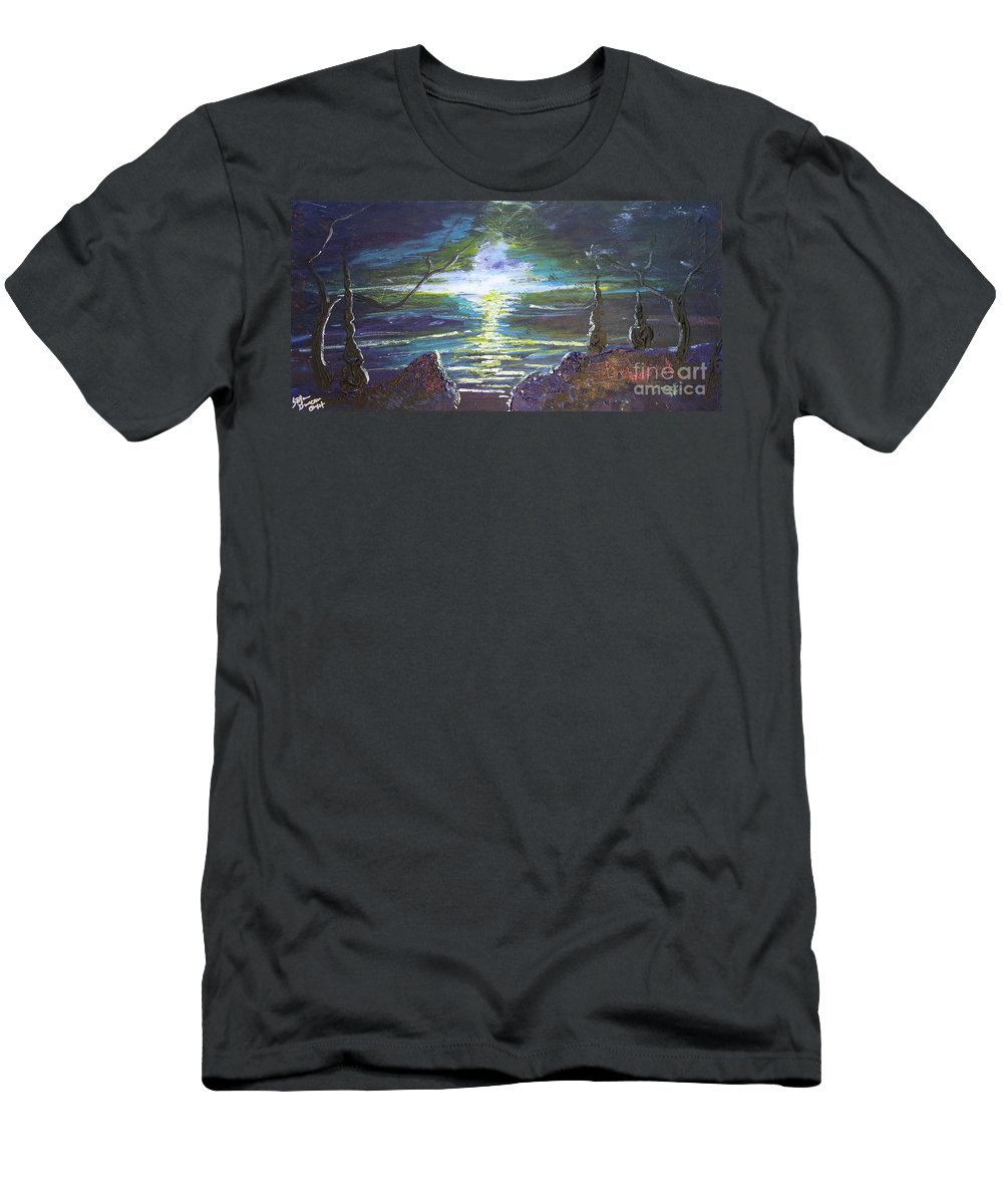 Impressionism Men's T-Shirt (Athletic Fit) featuring the painting Hope In The Gloom by Stefan Duncan