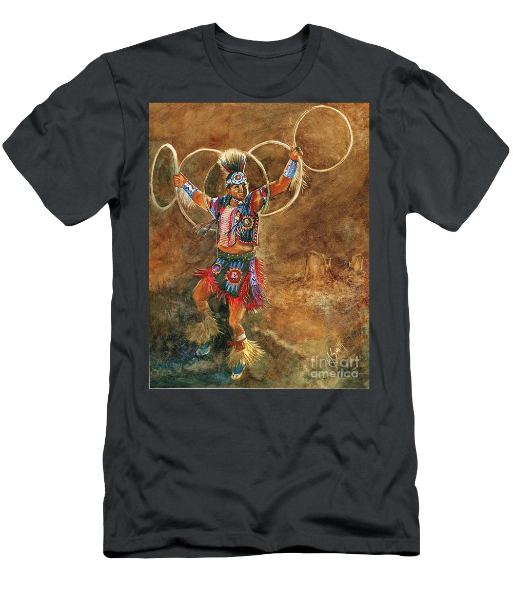 Hopi Hoop Dancer Men's T-Shirt (Athletic Fit) featuring the painting Hopi Hoop Dancer by Marilyn Smith