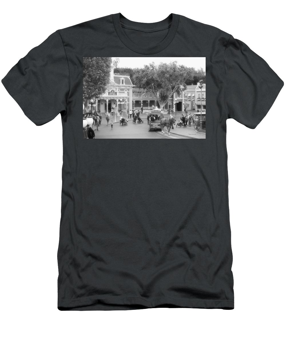 Disney Men's T-Shirt (Athletic Fit) featuring the photograph Horse And Trolley Turning Main Street Disneyland Bw by Thomas Woolworth