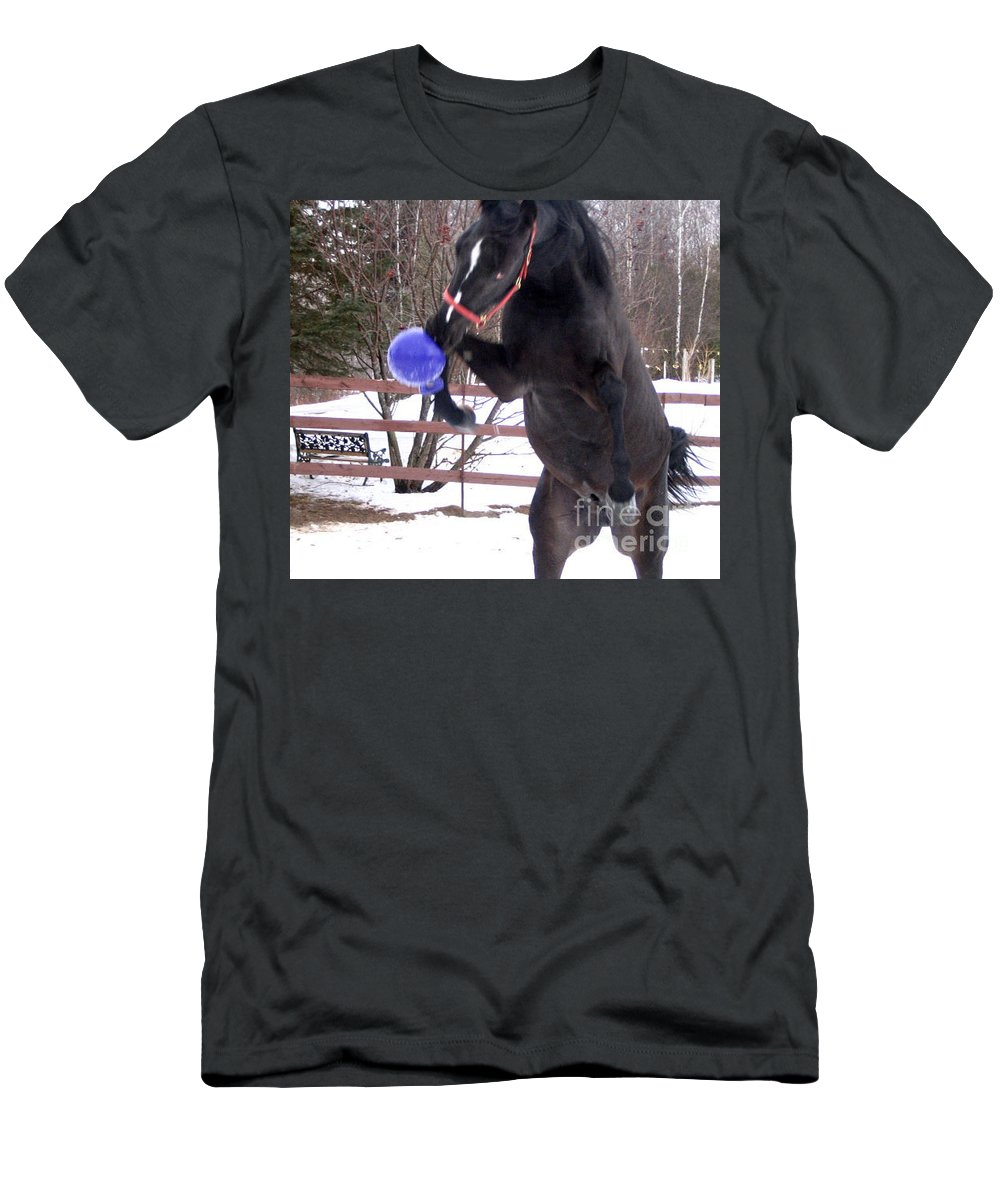 Horse Men's T-Shirt (Athletic Fit) featuring the photograph Horse Playing Ball by Line Gagne