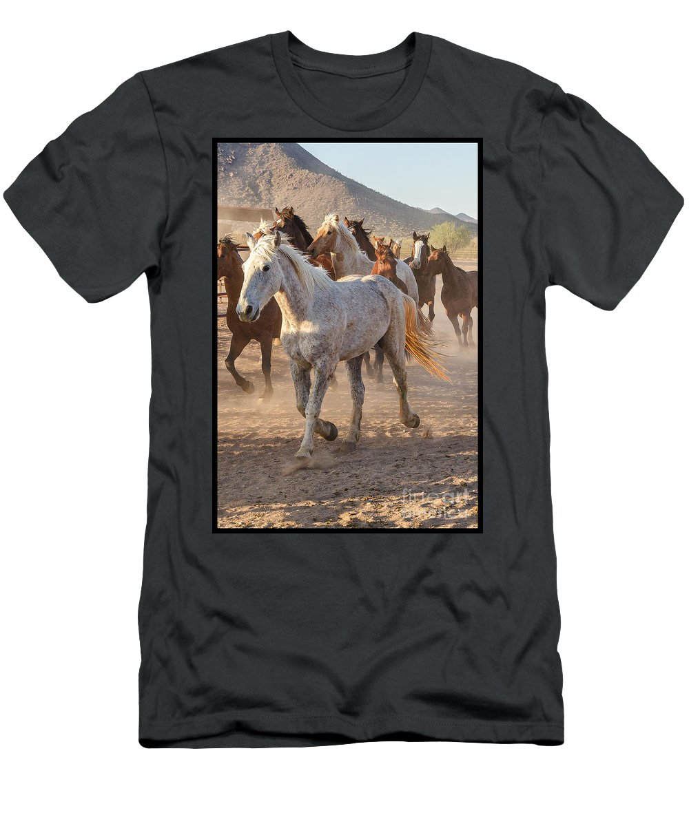 Horses Men's T-Shirt (Athletic Fit) featuring the photograph Horses 7 by Larry White