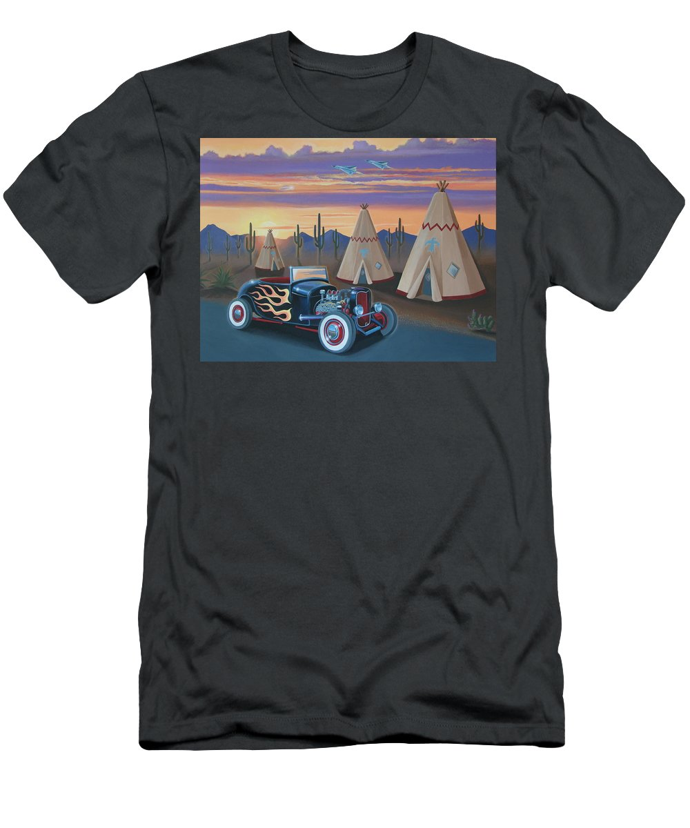 Hot Rod Men's T-Shirt (Athletic Fit) featuring the painting Hot Rod At The Wigwams by Stuart Swartz