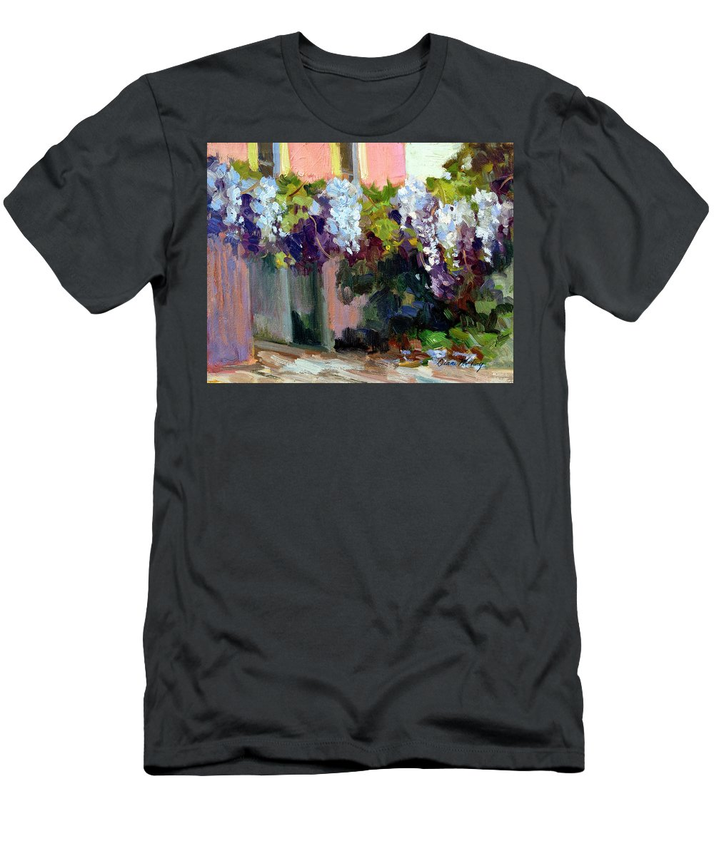 Hotel Baudy Men's T-Shirt (Athletic Fit) featuring the painting Hotel Baudy Wisteria by Diane McClary