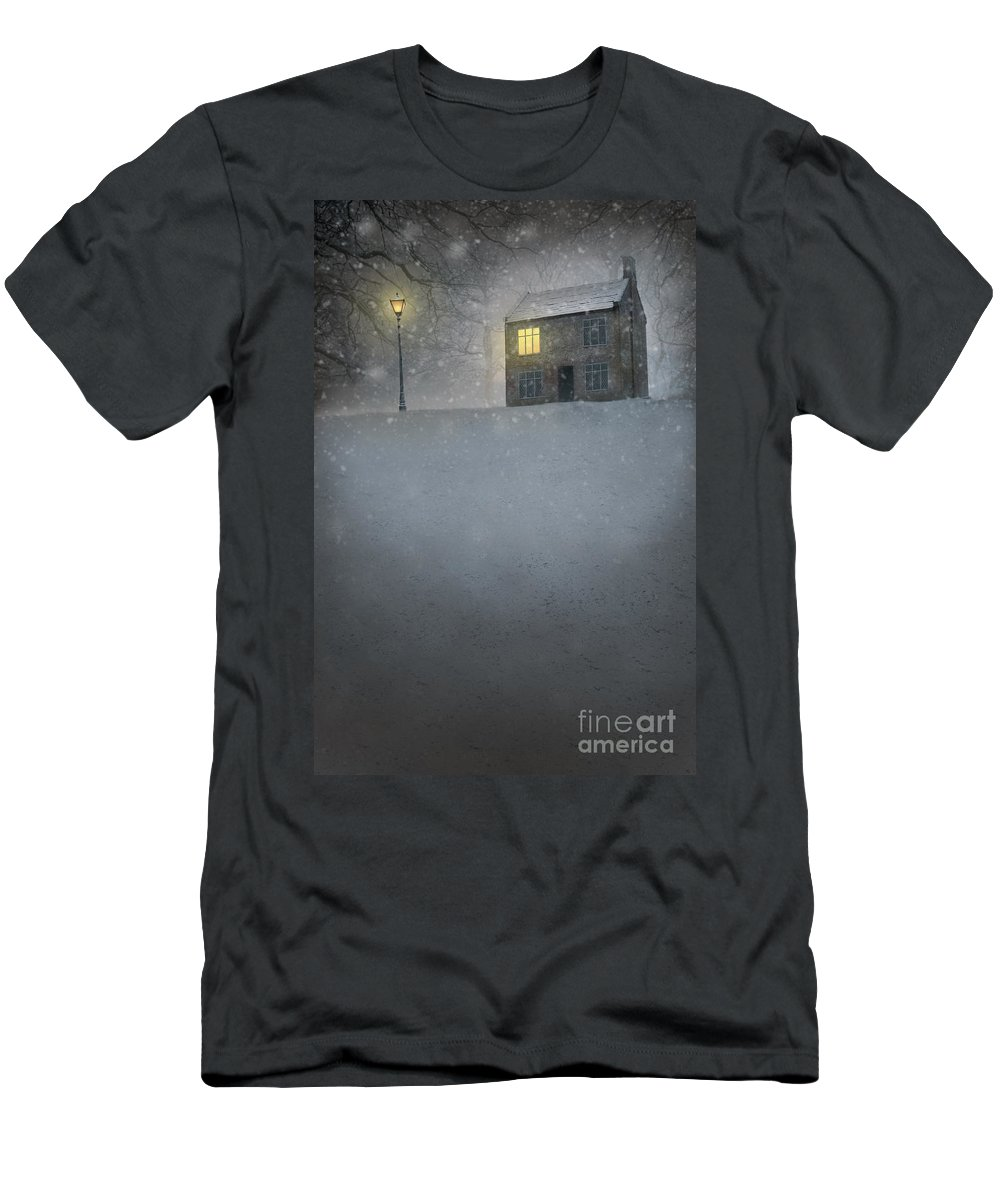 House Men's T-Shirt (Athletic Fit) featuring the photograph House In Snow With Lamp by Lee Avison