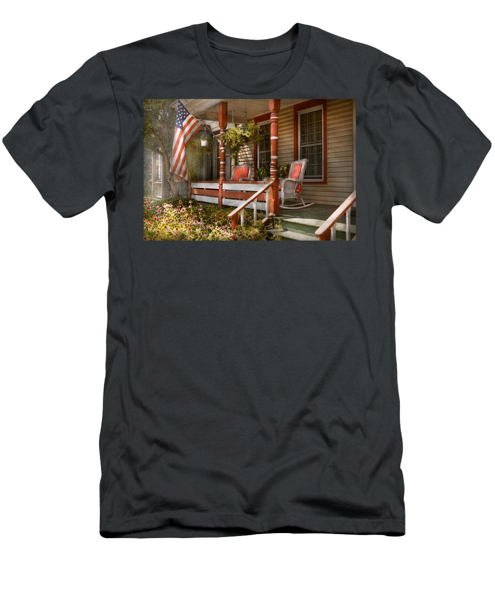 Porch Men's T-Shirt (Athletic Fit) featuring the photograph House - Porch - Traditional American by Mike Savad