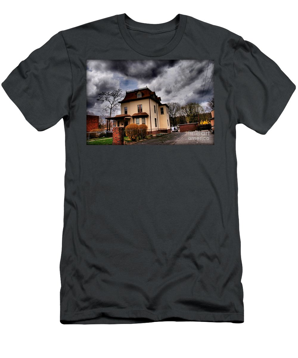 Haunted House Men's T-Shirt (Athletic Fit) featuring the photograph House With Storm Approaching by Miriam Danar