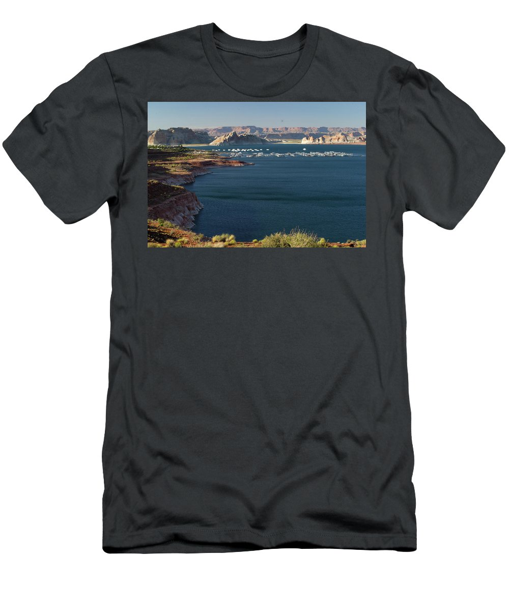 Photography Men's T-Shirt (Athletic Fit) featuring the photograph Houseboats At Marina At Lake Powell by Panoramic Images