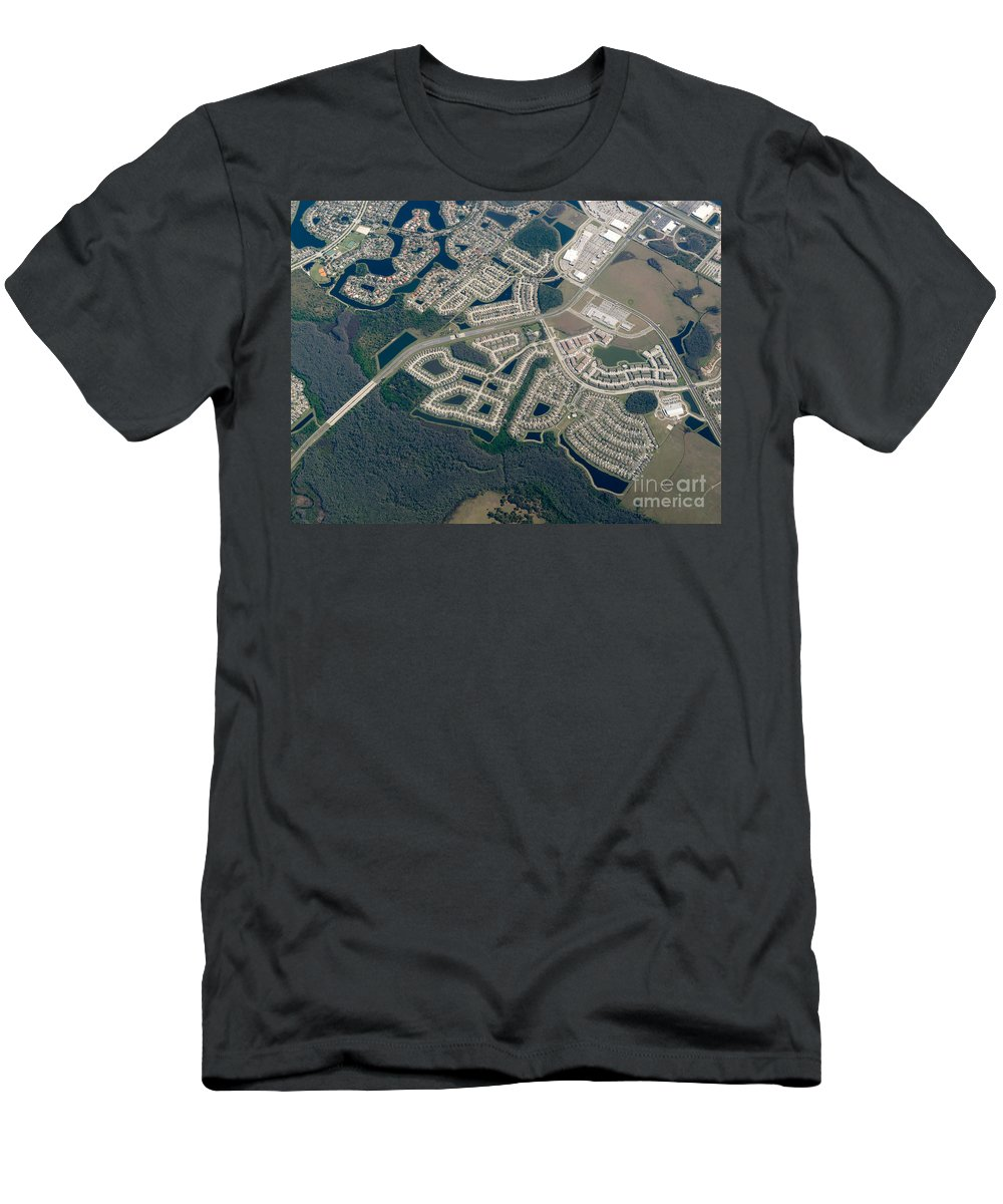 Aerial Men's T-Shirt (Athletic Fit) featuring the photograph Housing Development Near Wetland by John Shaw