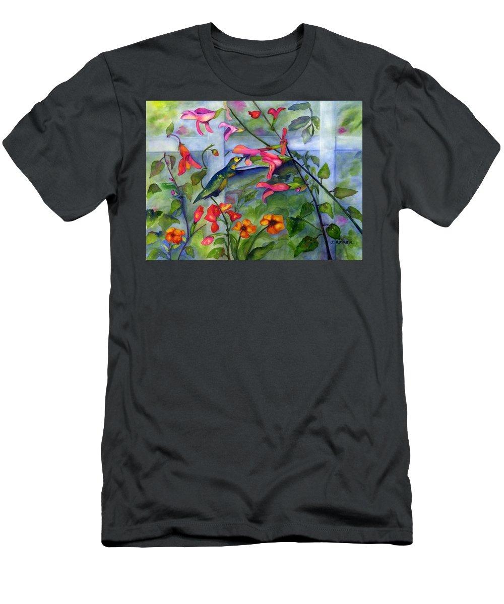 Birds. Hummingbird Men's T-Shirt (Athletic Fit) featuring the painting Hummingbird Dance by Jane Ricker
