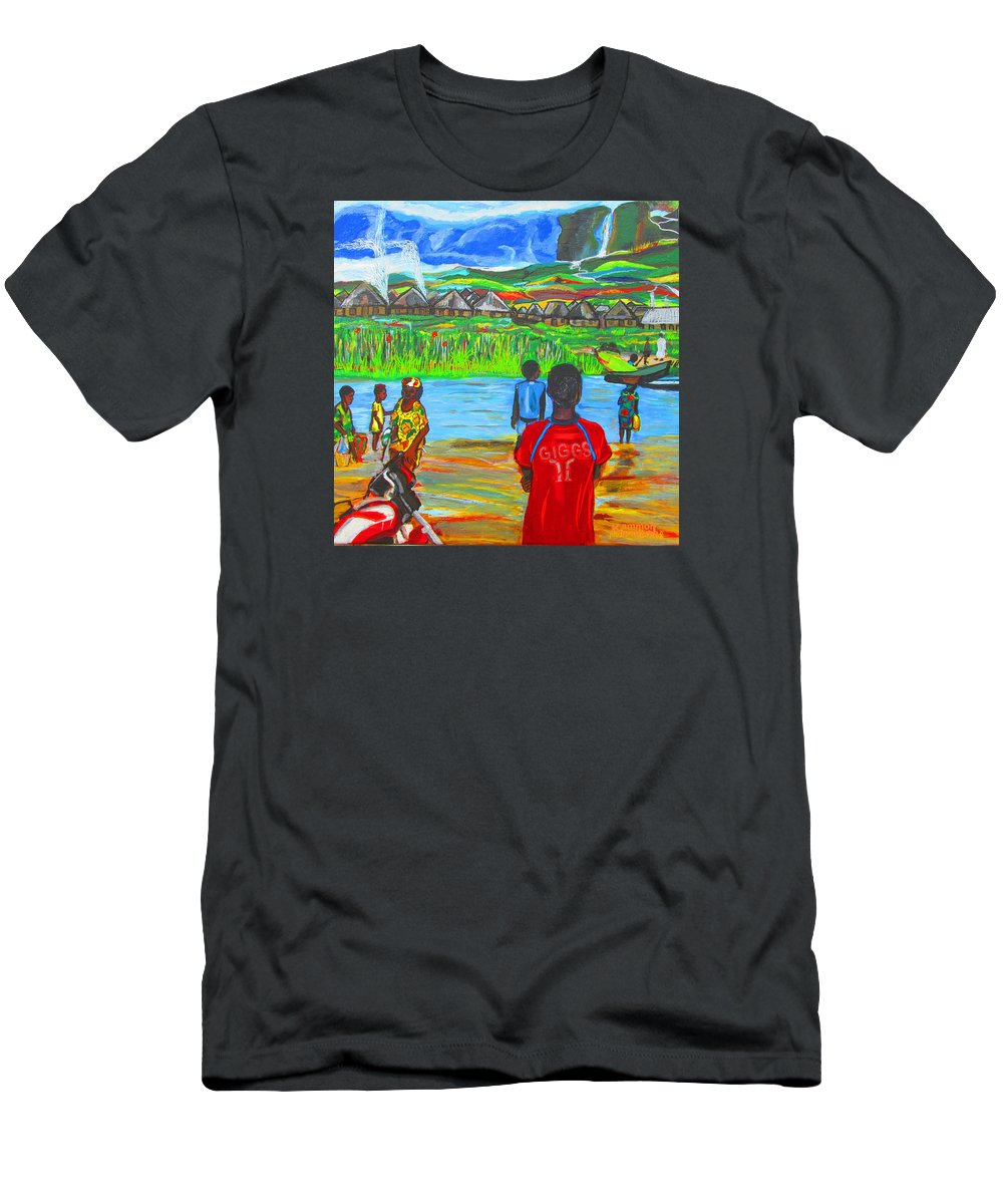 River Men's T-Shirt (Athletic Fit) featuring the painting Hurry Up There - Ryan Giggs Tribute by Mudiama Kammoh